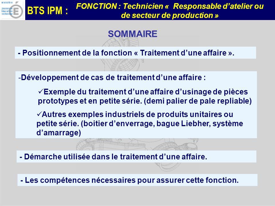 BTS IPM : FONCTION : Technicien « Responsable datelier ou de secteur de production » -Développement de cas de traitement dune affaire : - Positionneme