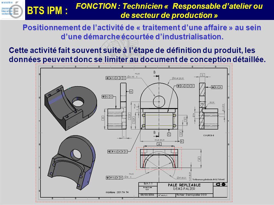 BTS IPM : FONCTION : Technicien « Responsable datelier ou de secteur de production » Positionnement de lactivité de « traitement dune affaire » au sei