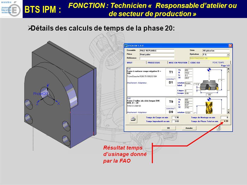 BTS IPM : FONCTION : Technicien « Responsable datelier ou de secteur de production » Détails des calculs de temps de la phase 20: Résultat temps dusin