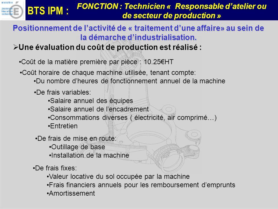 BTS IPM : FONCTION : Technicien « Responsable datelier ou de secteur de production » Une évaluation du coût de production est réalisé : Coût de la mat