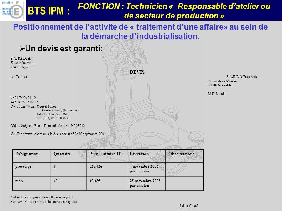 BTS IPM : FONCTION : Technicien « Responsable datelier ou de secteur de production » DésignationQuantitéPrix Unitaire HTLivraisonObservations prototyp