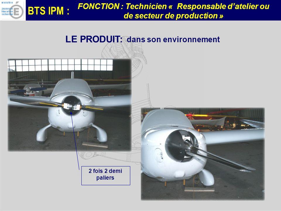 BTS IPM : FONCTION : Technicien « Responsable datelier ou de secteur de production » LE PRODUIT: dans son environnement 2 fois 2 demi paliers