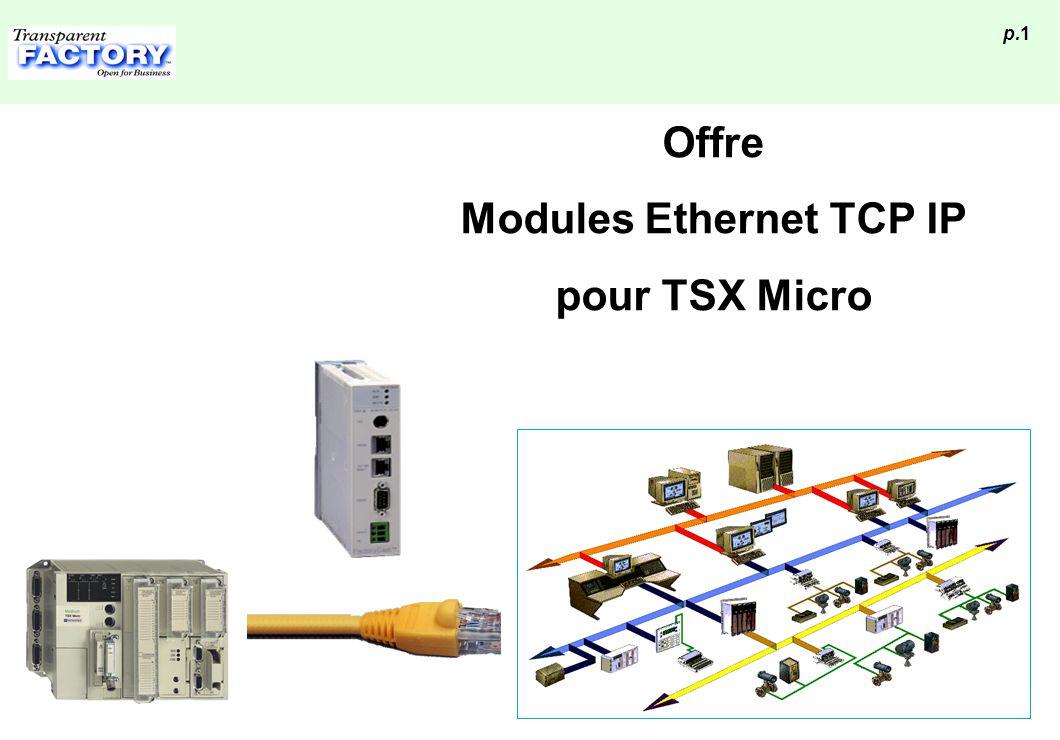 p.12 Architecture compatible avec toutes installations existantes Max = 99 @ UTW UTW ETZ Ethernet Max =7 @ UTW UTW Ethernet ETZ Connexion au bus local Unitelway Accessibilité de l application en local ou à distance Le module se comporte comme un esclave UTW (il occupe 2@ UTW)