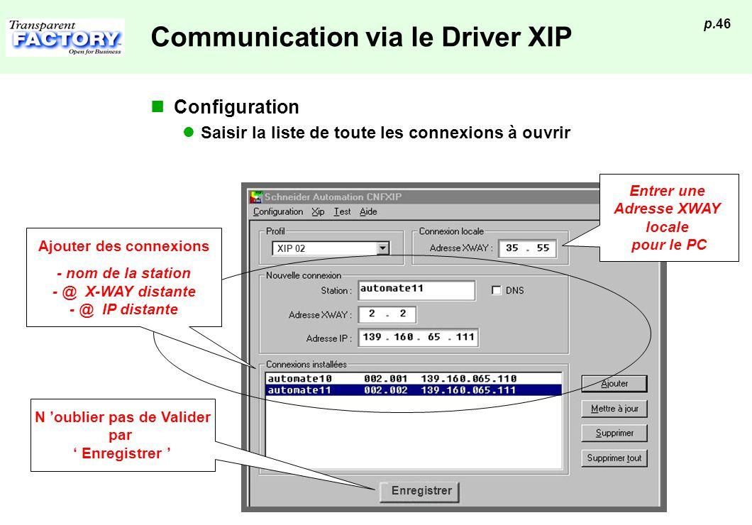 p.46 Enregistrer XIP 02 Communication via le Driver XIP Configuration Saisir la liste de toute les connexions à ouvrir Entrer une Adresse XWAY locale