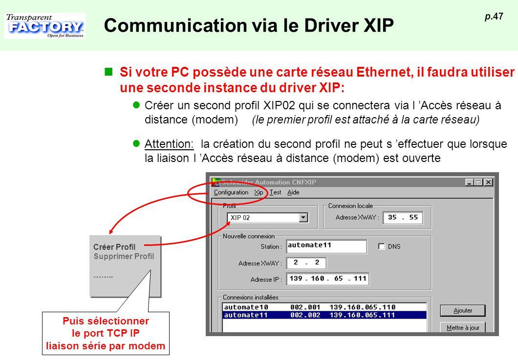 p.47 Communication via le Driver XIP Si votre PC possède une carte réseau Ethernet, il faudra utiliser une seconde instance du driver XIP: Créer un se