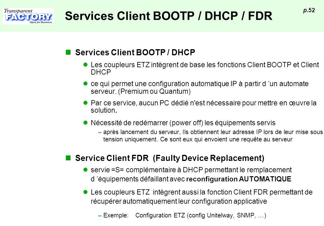 p.52 Services Client BOOTP / DHCP / FDR Services Client BOOTP / DHCP Les coupleurs ETZ intègrent de base les fonctions Client BOOTP et Client DHCP ce