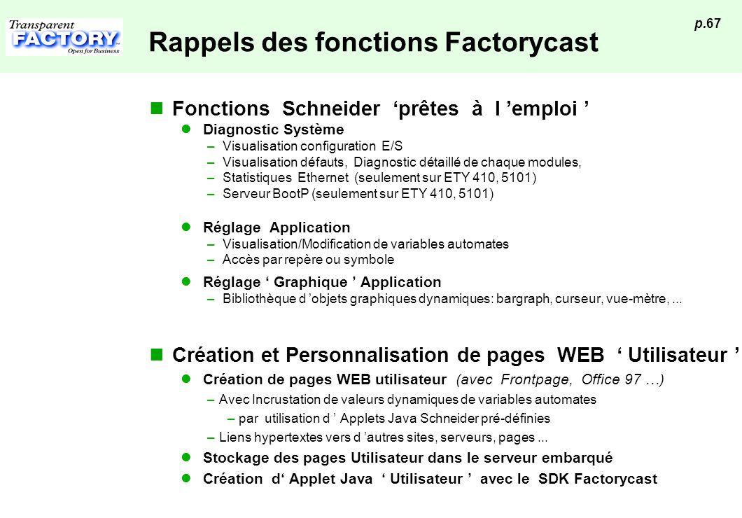 p.67 Rappels des fonctions Factorycast Fonctions Schneider prêtes à l emploi Diagnostic Système – Visualisation configuration E/S – Visualisation défa