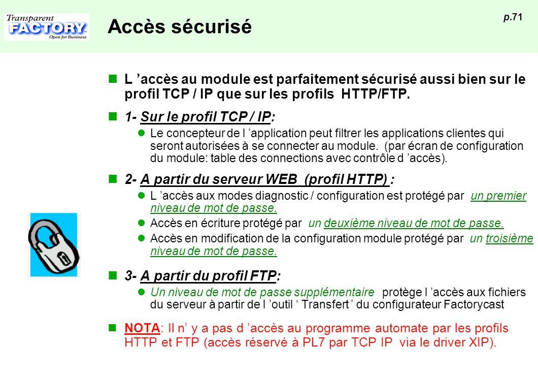 p.71 Accès sécurisé L accès au module est parfaitement sécurisé aussi bien sur le profil TCP / IP que sur les profils HTTP/FTP. 1- Sur le profil TCP /