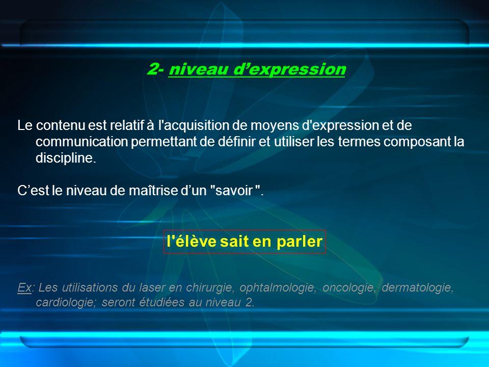 2- niveau dexpression Le contenu est relatif à l'acquisition de moyens d'expression et de communication permettant de définir et utiliser les termes c