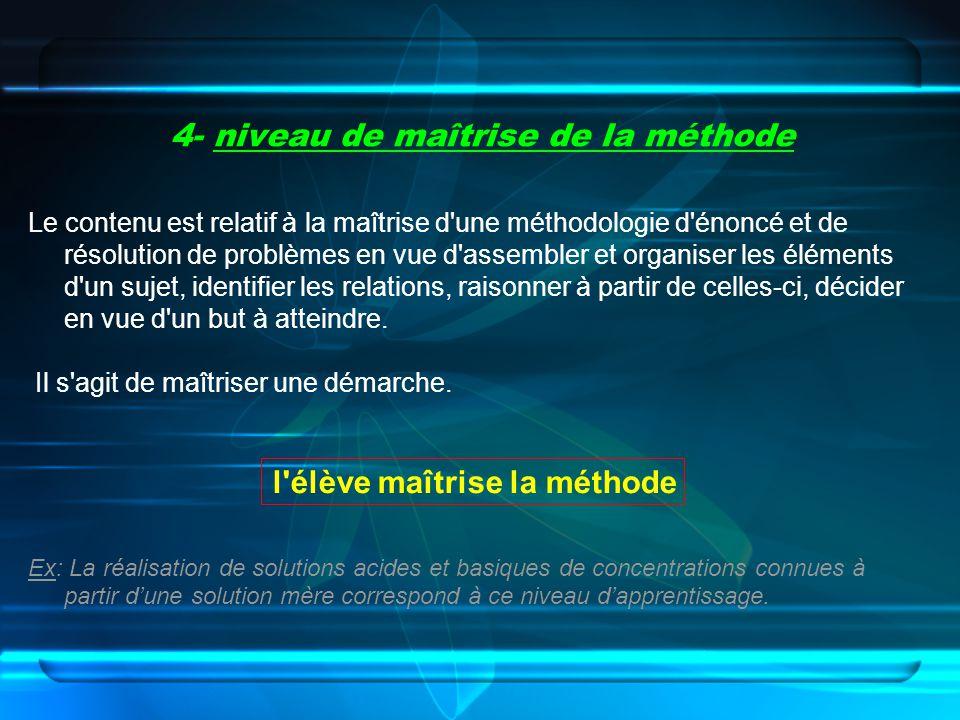 4- niveau de maîtrise de la méthode Le contenu est relatif à la maîtrise d'une méthodologie d'énoncé et de résolution de problèmes en vue d'assembler