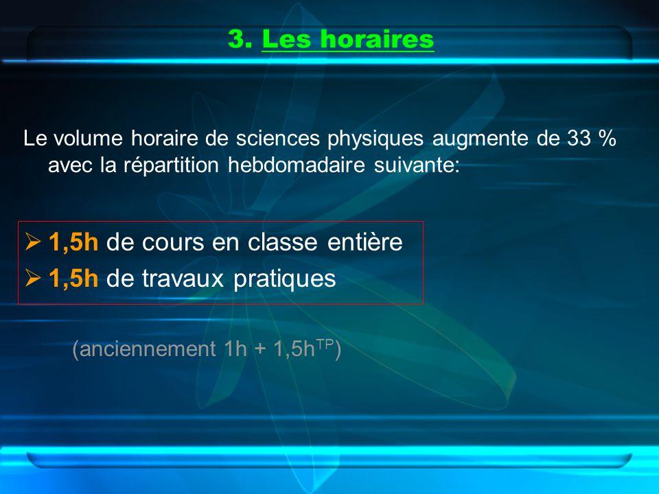 3. Les horaires Le volume horaire de sciences physiques augmente de 33 % avec la répartition hebdomadaire suivante: 1,5h de cours en classe entière 1,