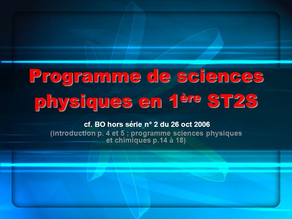 Programme de sciences physiques en 1 ère ST2S cf. BO hors série n° 2 du 26 oct 2006 (introduction p. 4 et 5 ; programme sciences physiques et chimique