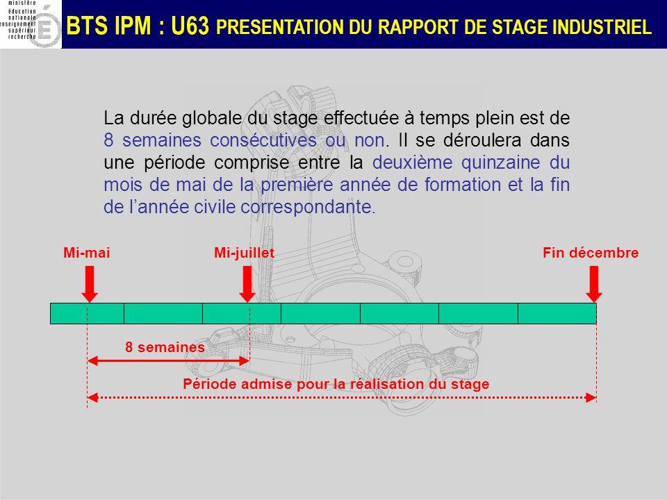 BTS IPM : U63 PRESENTATION DU RAPPORT DE STAGE INDUSTRIEL La durée globale du stage effectuée à temps plein est de 8 semaines consécutives ou non. Il