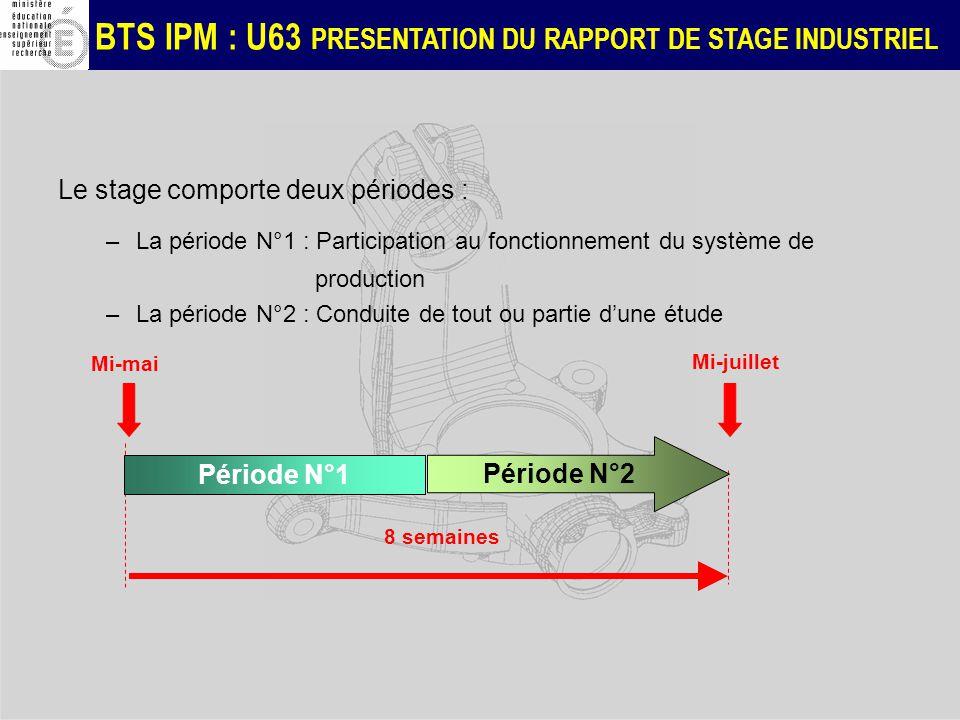 BTS IPM : U63 PRESENTATION DU RAPPORT DE STAGE INDUSTRIEL Le stage comporte deux périodes : –La période N°1 : Participation au fonctionnement du systè