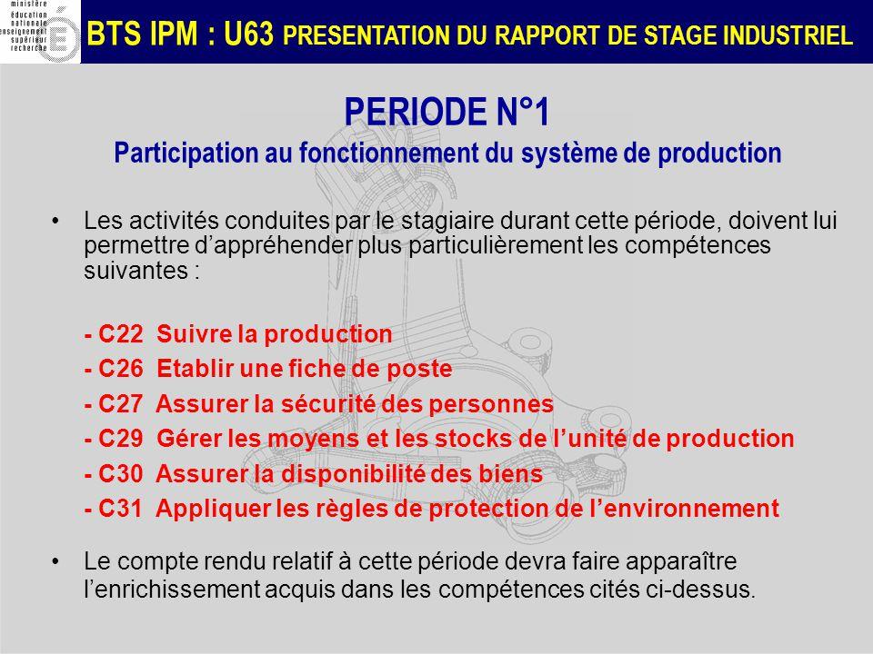 BTS IPM : U63 PRESENTATION DU RAPPORT DE STAGE INDUSTRIEL PERIODE N°1 Participation au fonctionnement du système de production Les activités conduites par le stagiaire durant cette période, doivent lui permettre dappréhender plus particulièrement les compétences suivantes : - C22 Suivre la production - C26 Etablir une fiche de poste - C27 Assurer la sécurité des personnes - C29 Gérer les moyens et les stocks de lunité de production - C30 Assurer la disponibilité des biens - C31 Appliquer les règles de protection de lenvironnement Le compte rendu relatif à cette période devra faire apparaître lenrichissement acquis dans les compétences cités ci-dessus.