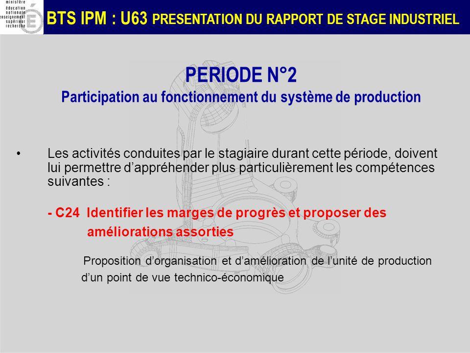 BTS IPM : U63 PRESENTATION DU RAPPORT DE STAGE INDUSTRIEL PERIODE N°2 Participation au fonctionnement du système de production Les activités conduites