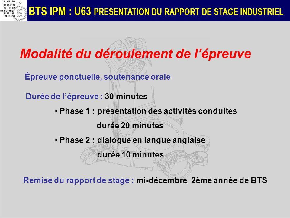 BTS IPM : U63 PRESENTATION DU RAPPORT DE STAGE INDUSTRIEL Modalité du déroulement de lépreuve Épreuve ponctuelle, soutenance orale Durée de lépreuve :