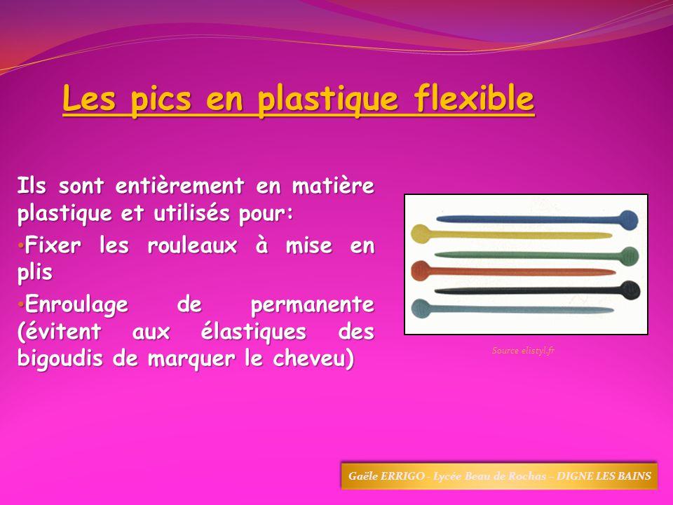 Les pics en plastique flexible Ils sont entièrement en matière plastique et utilisés pour: Fixer les rouleaux à mise en plis Fixer les rouleaux à mise