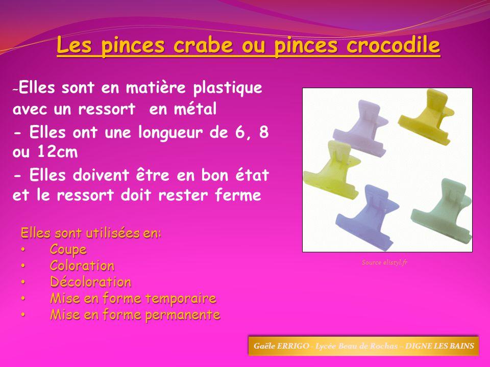 Les pinces crabe ou pinces crocodile - Elles sont en matière plastique avec un ressort en métal - Elles ont une longueur de 6, 8 ou 12cm - Elles doive