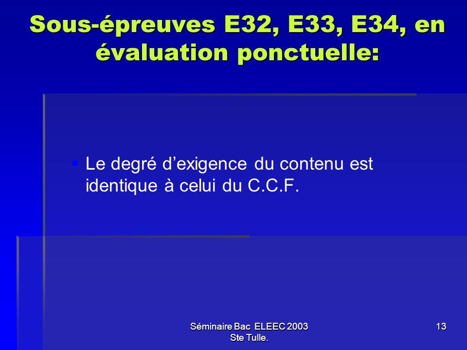 Séminaire Bac ELEEC 2003 Ste Tulle. 13 Sous-épreuves E32, E33, E34, en évaluation ponctuelle: Le degré dexigence du contenu est identique à celui du C