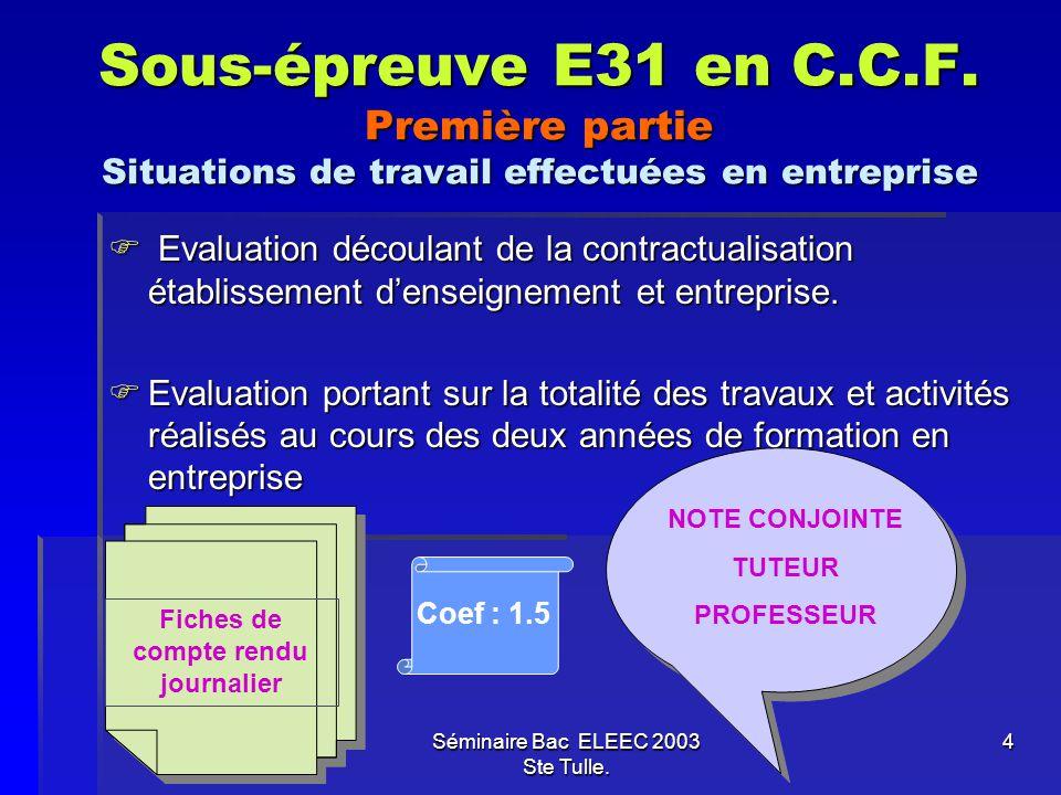 Séminaire Bac ELEEC 2003 Ste Tulle. 4 Sous-épreuve E31 en C.C.F. Première partie Situations de travail effectuées en entreprise E Evaluation découlant