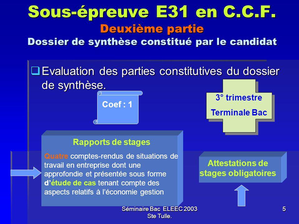 Séminaire Bac ELEEC 2003 Ste Tulle. 5 Sous-épreuve E31 en C.C.F. Deuxième partie Dossier de synthèse constitué par le candidat Evaluation des parties