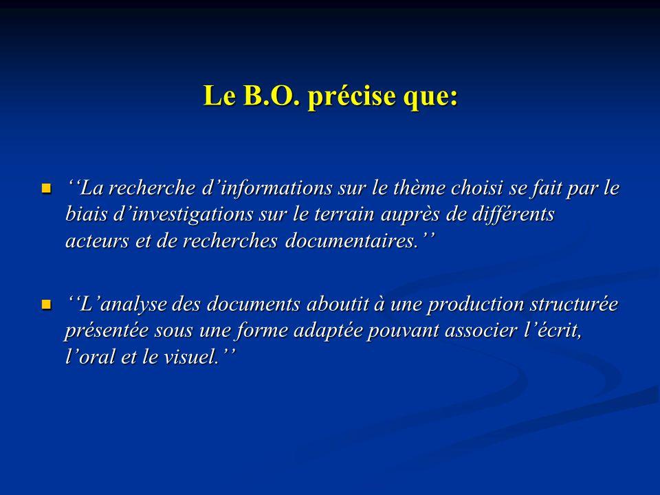 Le B.O. précise que: La recherche dinformations sur le thème choisi se fait par le biais dinvestigations sur le terrain auprès de différents acteurs e