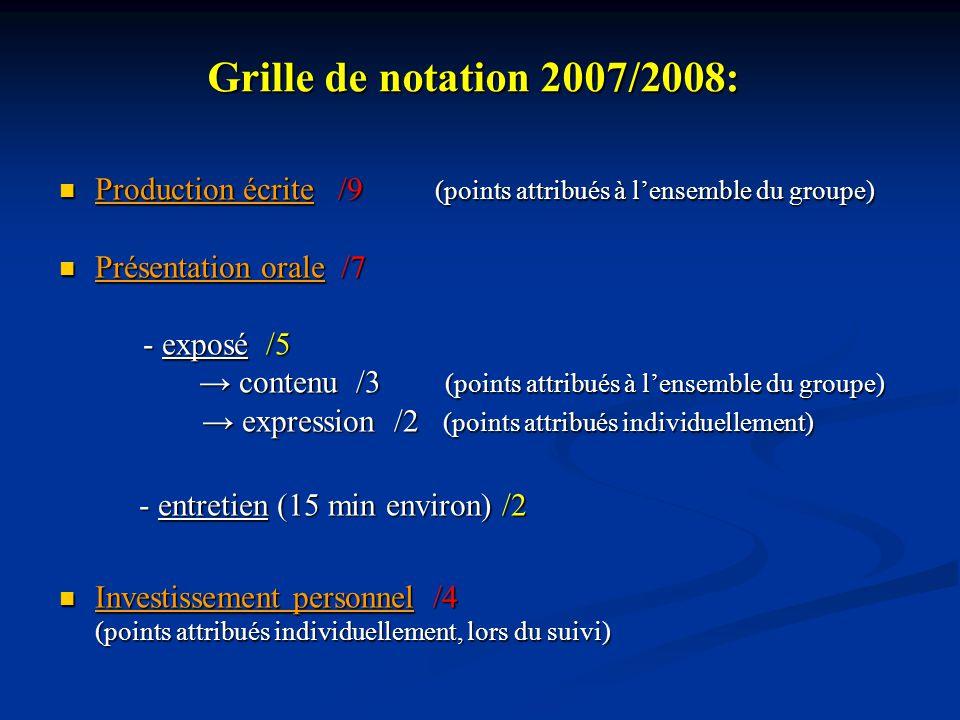 Grille de notation 2007/2008: Production écrite /9 (points attribués à lensemble du groupe) Production écrite /9 (points attribués à lensemble du grou