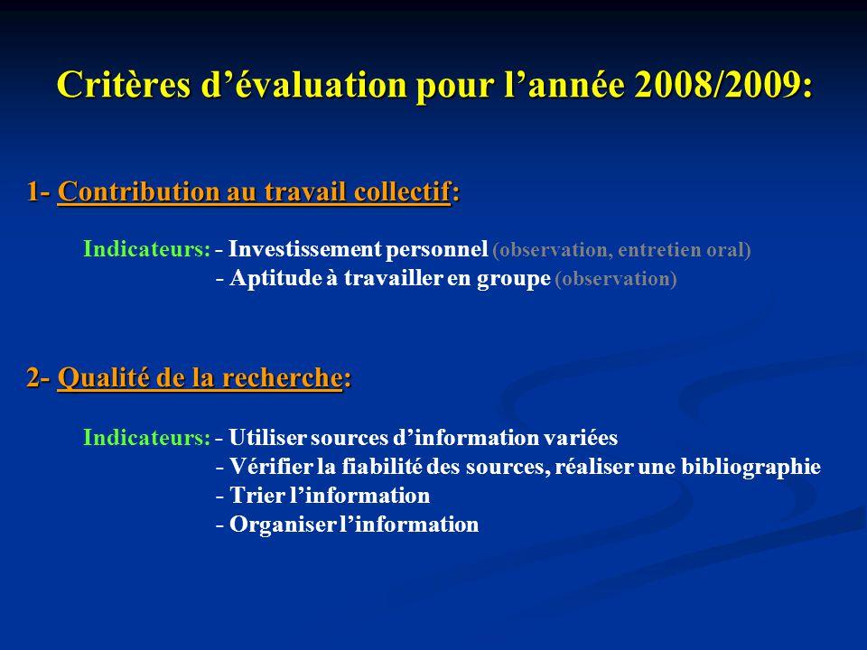 Critères dévaluation pour lannée 2008/2009: 1- Contribution au travail collectif: 1- Contribution au travail collectif: Indicateurs: - Investissement