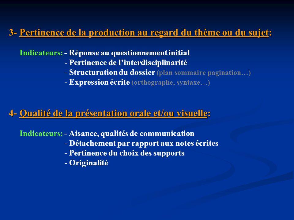 3- Pertinence de la production au regard du thème ou du sujet: 3- Pertinence de la production au regard du thème ou du sujet: Indicateurs: - Réponse a