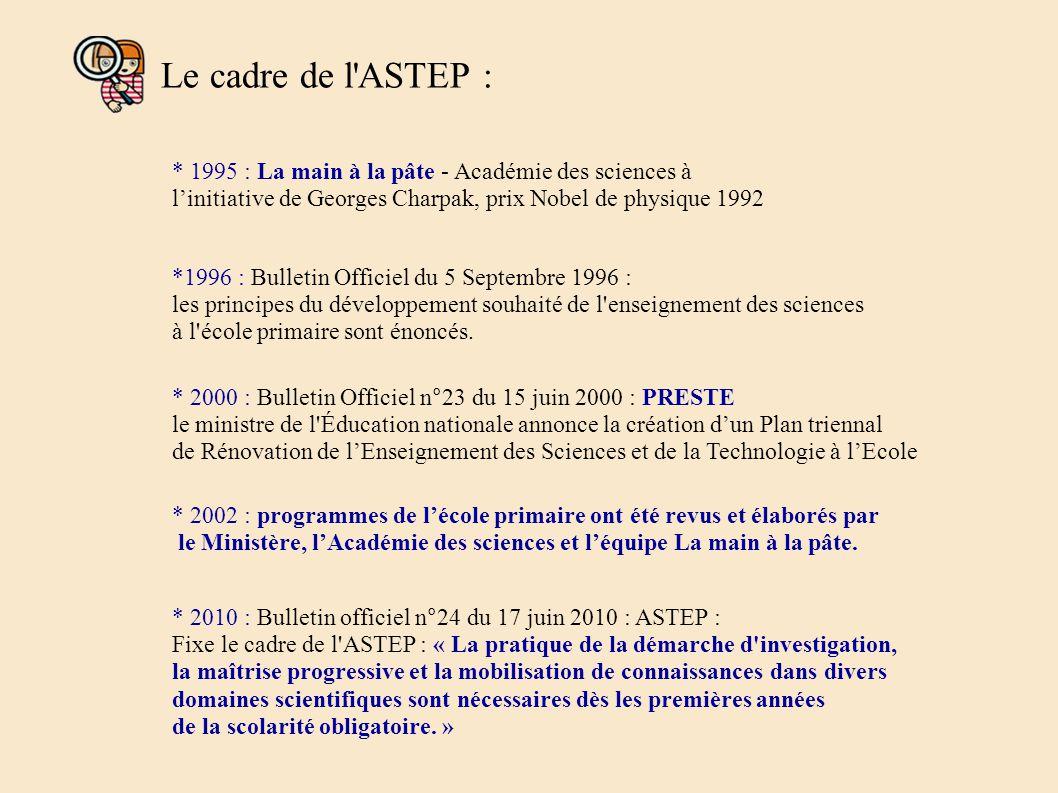 Le cadre de l ASTEP : * 1995 : La main à la pâte - Académie des sciences à linitiative de Georges Charpak, prix Nobel de physique 1992 *1996 : Bulletin Officiel du 5 Septembre 1996 : les principes du développement souhaité de l enseignement des sciences à l école primaire sont énoncés.
