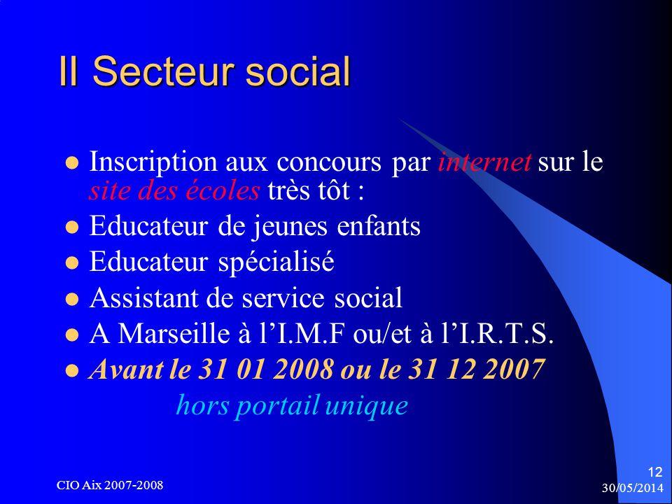 30/05/2014 CIO Aix 2007-2008 12 II Secteur social Inscription aux concours par internet sur le site des écoles très tôt : Educateur de jeunes enfants Educateur spécialisé Assistant de service social A Marseille à lI.M.F ou/et à lI.R.T.S.