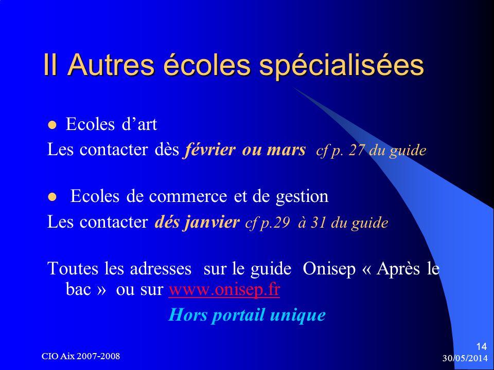 30/05/2014 CIO Aix 2007-2008 14 II Autres écoles spécialisées Ecoles dart Les contacter dès février ou mars cf p.