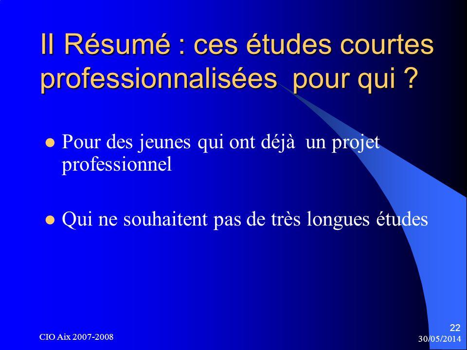 30/05/2014 CIO Aix 2007-2008 22 II Résumé : ces études courtes professionnalisées pour qui .