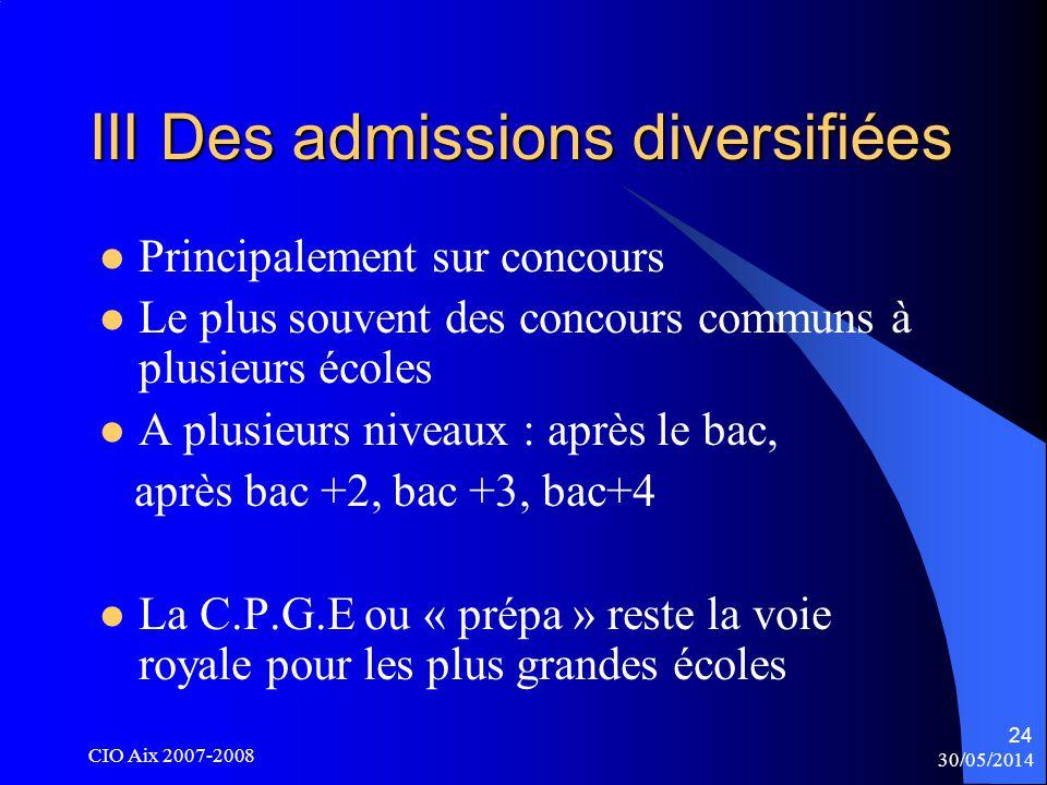30/05/2014 CIO Aix 2007-2008 24 III Des admissions diversifiées Principalement sur concours Le plus souvent des concours communs à plusieurs écoles A plusieurs niveaux : après le bac, après bac +2, bac +3, bac+4 La C.P.G.E ou « prépa » reste la voie royale pour les plus grandes écoles