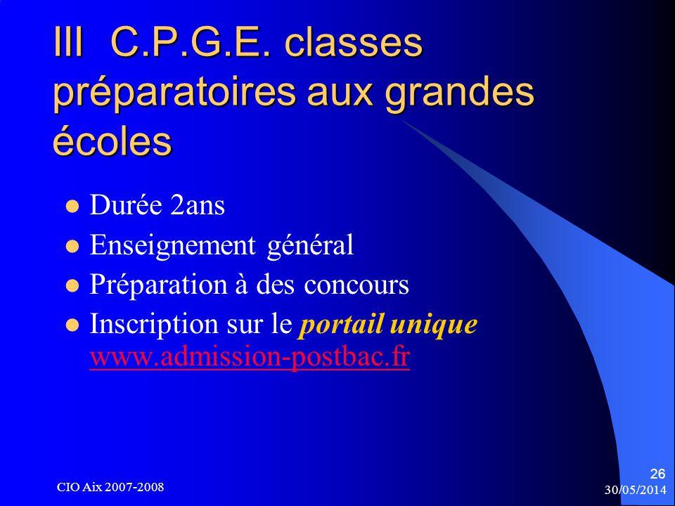 30/05/2014 CIO Aix 2007-2008 26 III C.P.G.E.