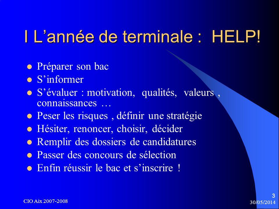 30/05/2014 CIO Aix 2007-2008 34 Doctorat En 3 ans Master recherche En 2 ans Master professionnel En 2 ans Licence L3 = S5 + S6 S = Semestre 30 crédits par semestre L2 = S3 + S4 L1 = S1 + S2