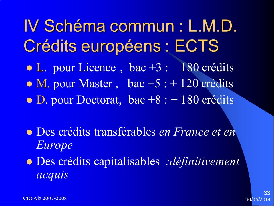 30/05/2014 CIO Aix 2007-2008 33 IV Schéma commun : L.M.D.