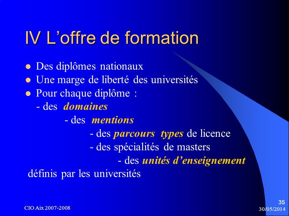 30/05/2014 CIO Aix 2007-2008 35 IV Loffre de formation Des diplômes nationaux Une marge de liberté des universités Pour chaque diplôme : - des domaines - des mentions - des parcours types de licence - des spécialités de masters - des unités denseignement définis par les universités