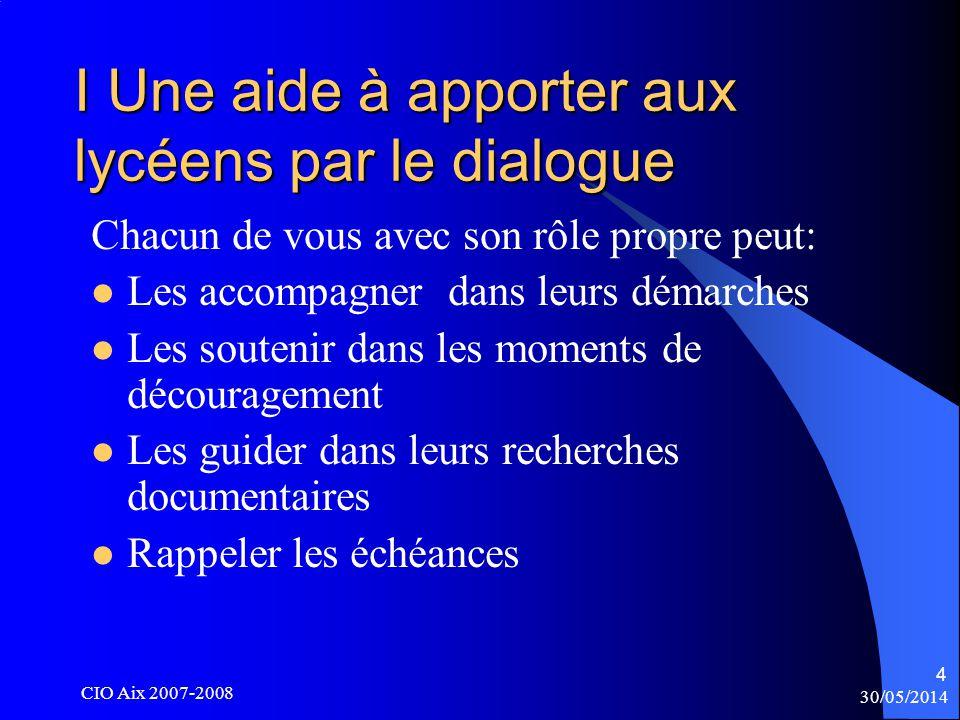 30/05/2014 CIO Aix 2007-2008 15 II D.U.T.B.T.S.