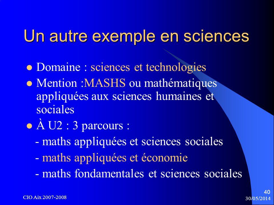 30/05/2014 CIO Aix 2007-2008 40 Un autre exemple en sciences Domaine : sciences et technologies Mention :MASHS ou mathématiques appliquées aux sciences humaines et sociales À U2 : 3 parcours : - maths appliquées et sciences sociales - maths appliquées et économie - maths fondamentales et sciences sociales