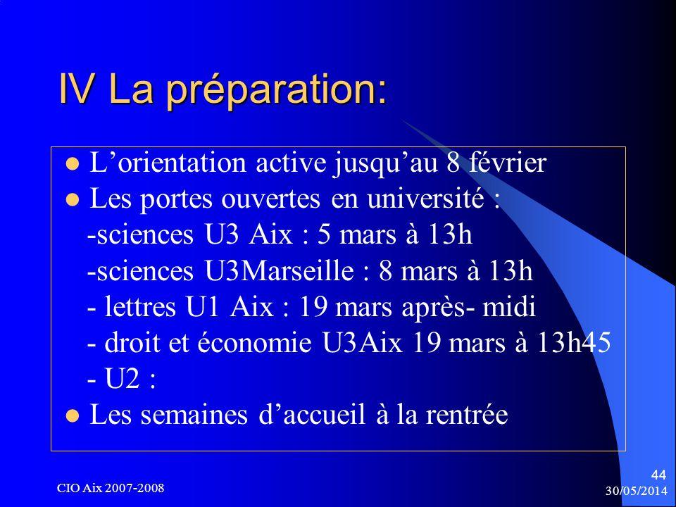 30/05/2014 CIO Aix 2007-2008 44 IV La préparation: Lorientation active jusquau 8 février Les portes ouvertes en université : -sciences U3 Aix : 5 mars à 13h -sciences U3Marseille : 8 mars à 13h - lettres U1 Aix : 19 mars après- midi - droit et économie U3Aix 19 mars à 13h45 - U2 : Les semaines daccueil à la rentrée