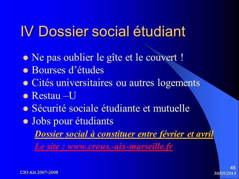 30/05/2014 CIO Aix 2007-2008 45 IV Dossier social étudiant Ne pas oublier le gîte et le couvert .