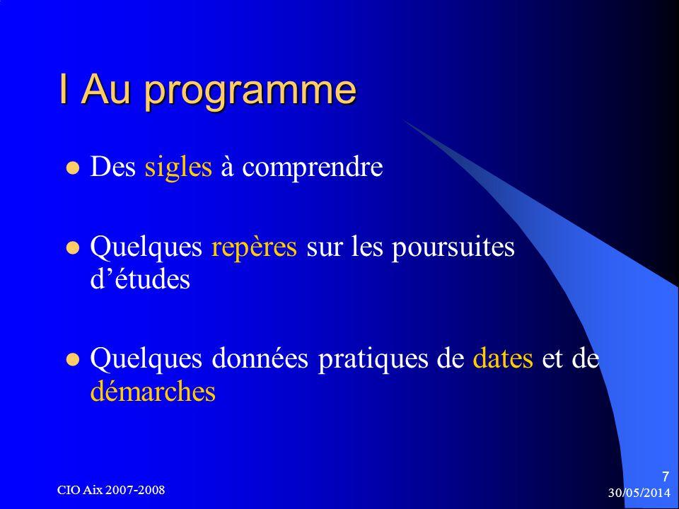 30/05/2014 CIO Aix 2007-2008 38 Exemple suite : organisation de la licence de géographie S1, S2, S3 communs à tous les parcours Les unités denseignements de S1, S2, S3, diffèrent mais valent au total 30 crédits par semestre Dès le milieu de la 2°année en S4 -certaines unités denseignement communes à tous les parcours -certaines spécifiques à chaque parcours