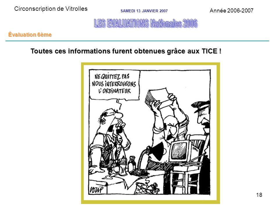18 Circonscription de Vitrolles Année 2006-2007 SAMEDI 13 JANVIER 2007 Évaluation 6ème Toutes ces informations furent obtenues grâce aux TICE !
