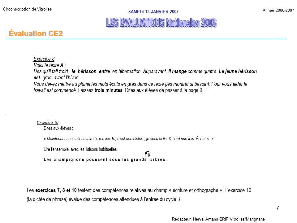 8 Circonscription de Vitrolles Année 2006-2007 SAMEDI 13 JANVIER 2007 Rédacteur: Hervé Amans ERIP Vitrolles/Marignane Évaluation CE2