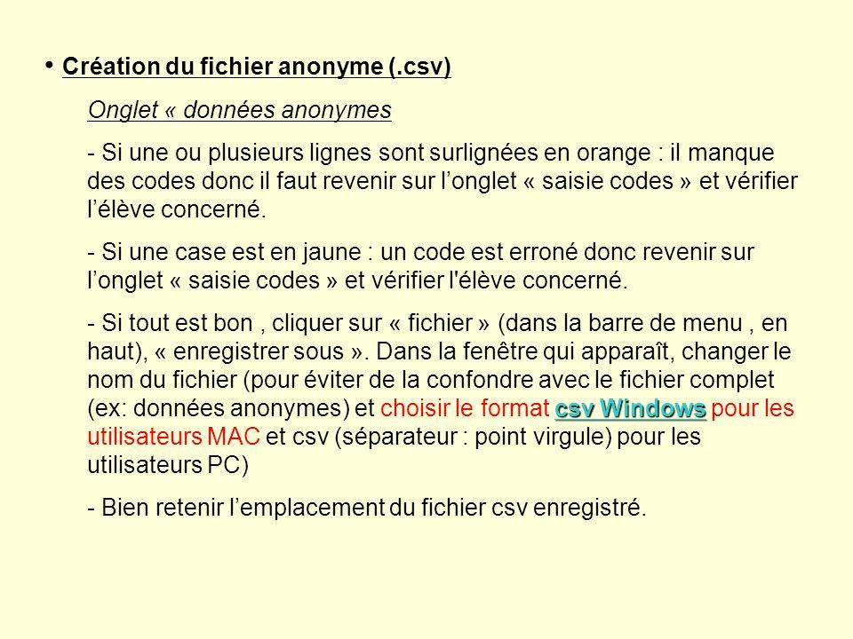 Création du fichier anonyme (.csv) Onglet « données anonymes - Si une ou plusieurs lignes sont surlignées en orange : il manque des codes donc il faut