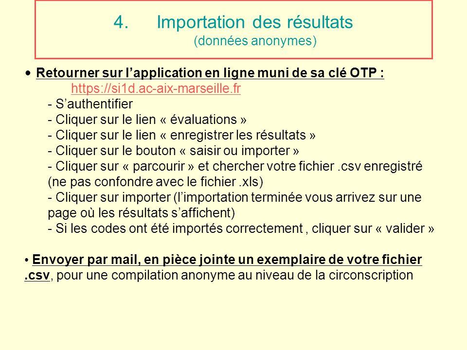 4.Importation des résultats (données anonymes) Retourner sur lapplication en ligne muni de sa clé OTP : https://si1d.ac-aix-marseille.fr - Sauthentifi