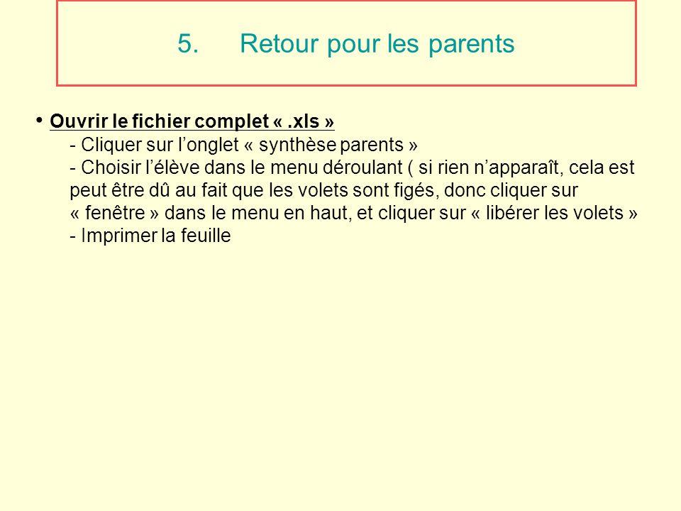 5.Retour pour les parents Ouvrir le fichier complet «.xls » - Cliquer sur longlet « synthèse parents » - Choisir lélève dans le menu déroulant ( si ri