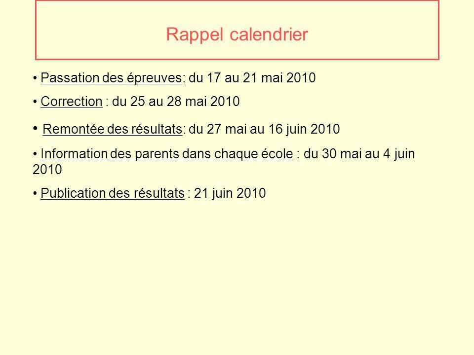 Rappel calendrier Passation des épreuves: du 17 au 21 mai 2010 Correction : du 25 au 28 mai 2010 Remontée des résultats: du 27 mai au 16 juin 2010 Inf